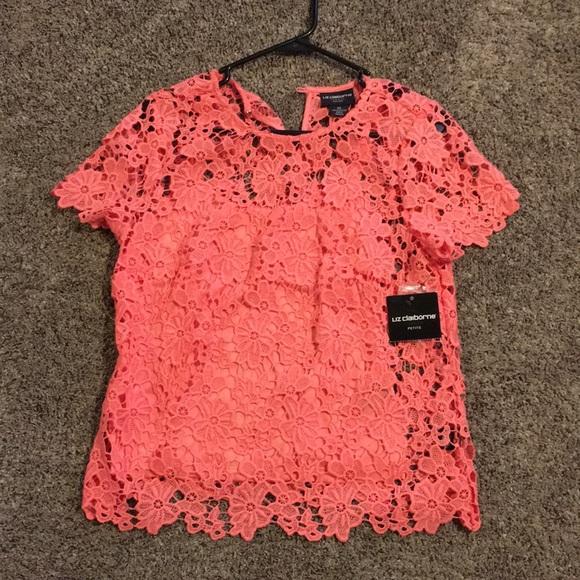 fec15c0057c Liz Claiborne coral lace shirt.